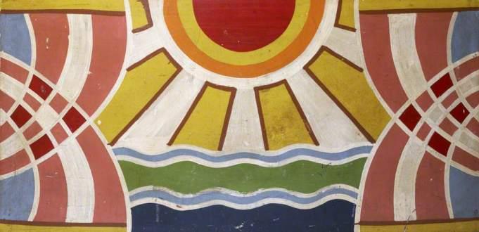 unknown artist; John Liny's Hoopla (Chicken Joe): Art Deco Sun ; The Fairground Heritage Trust; http://www.artuk.org/artworks/john-linys-hoopla-chicken-joe-art-deco-sun-96626